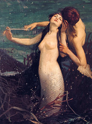 Topless mermaid, voluptuous amd alluring, seducing a young man at  the bottom of the sea.
