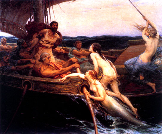 Painting by Herbert Draper of sirens and mermaids  seductively  overtaking a ship of rowing men.
