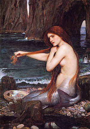 Painted depiction of mermaid, seductively topless, combing her hair  on the beach